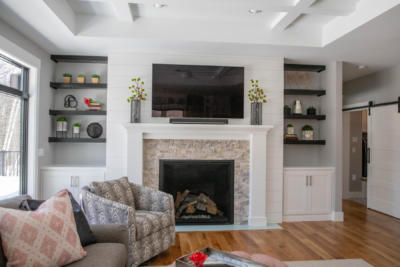 Mantle with Surround and Built-In Cabinets with Floating Shelves